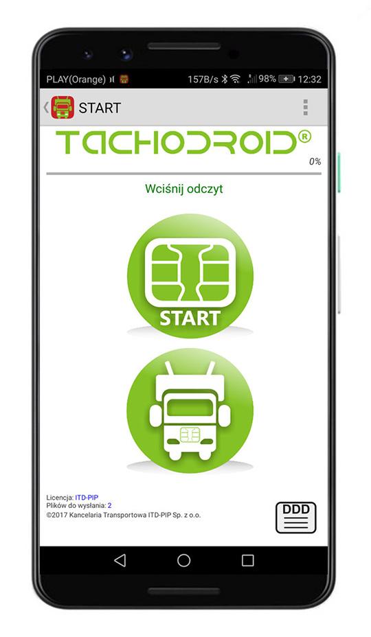 Oprogramowanie Tachodroid Odczyt karty kierowcy i tachografu